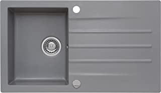 AXIS KITCHEN Mojito 100 Küchenspüle Farbe Axis Moonlight Grey Grau Material Axigranit 50er Unterschrank Spülbecken Siphon, Exzenterbedienung, Ausschnittschablone