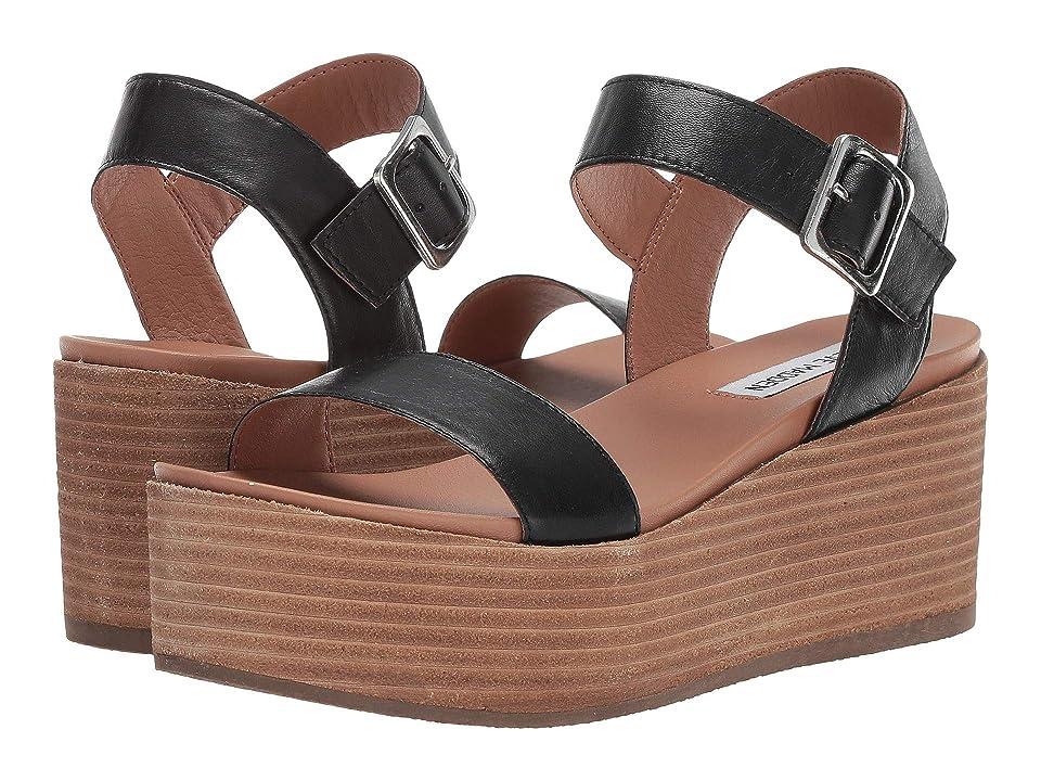 Steve Madden Heiress Wedge Sandal (Black Leather) Women