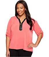Calvin Klein Plus - Plus Size 3/4 Sleeve Top with 1/2 Zip