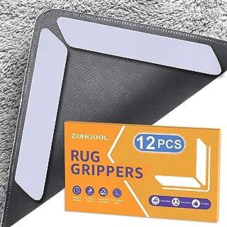 12 PCS Rug Gripper, ZONGOOL Washable Rug Tape for Hardwood Floors, Double Sided Non-Slip Rug Pad, Reusable Durable Carpet ...