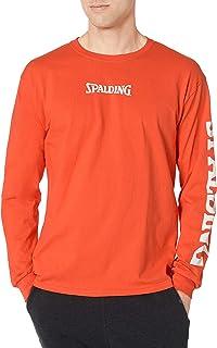 Spalding Brand Logo Crew Neck Long Sleeve Cotton Jersey Tee