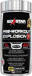 Six Star Explosion Pre Workout Pills with L-Arginine, Nitric Oxide, Beta Alanine, and Energy, 120 Count