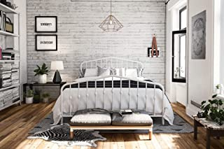 Novogratz Bushwick Metal Bed, Queen, White