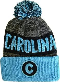 BVE Sports Novelties Carolina C Patch Ribbed Cuff Knit Winter Hat Pom Beanie