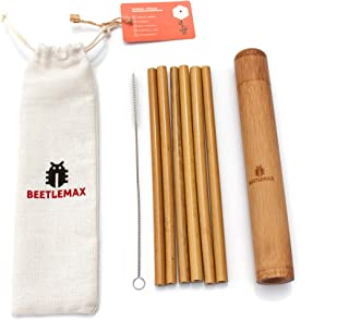 Reusable Bamboo Drinking Straws with Bamboo Travel Case & Natural Cotton Storage Bag | Set of 6, 8 Inch with Cleaning Brush Included. Eco-Friendly Alternative to Plastic | 100% Organic.
