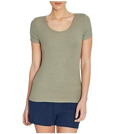 Three Dots Viscose Rib Short Sleeve Scoop Neck (Fatigue) Women