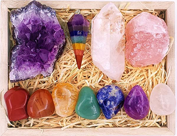 Zatny Premium Healing Crystals Chakra Gift Kit In Wooden Box 7 Chakra Set Stones E Book 20x6 Reference Guide Poster Gift Ready Essential Chakra