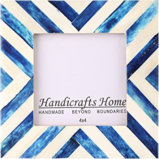 Handicrafts Home Picture Frames Photo Frame Chevron Herringbone Vintage Wooden Handmade Naturals Bone Classic Size 4x4 Inch (Blue) – Thanksgiving Gifts