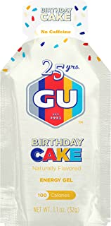 GU Energy Original Sports Nutrition Energy Gel, Birthday Cake, 24 Count Box