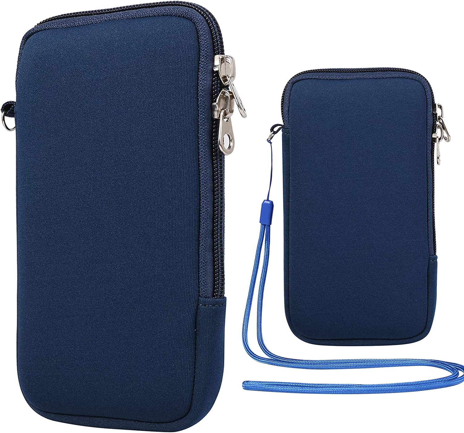 Neoprene Phone Protective Sleeve Pouch w/Neck Lanyard Compatible for Galaxy Note 20 S21+ S20 FE S10 Plus A52 A51 A11 A31, iPhone 12 11 Pro Max, Moto E G Stylus G Fast, LG Stylo 5 (Blue, L)