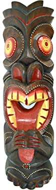 "20"" Handmade Tiki Tongue MASK Hawaiian Polynesian Wall Art Tribal BAR Tropical"