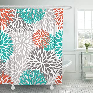 Accrocn Waterproof Shower Curtain Curtains Fabric Orange Gray and Turquoise White Dahlia 72x72 Inches Decorative Bathroom Odorless Eco Friendly