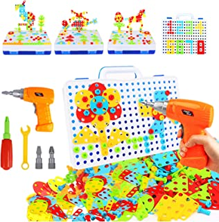 237 Pieces Electric DIY Drill Educational Set, STEM Learning Toys, 3D Construction Engineering Building Blocks for Boys an...