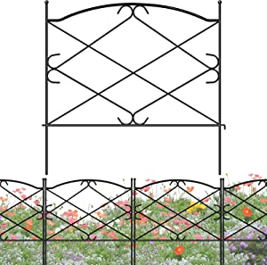 FEED GARDEN 5 Pack Metal Garden Fence 24in x 10ft Decorative Landscape Fencing Outdoor Flower Bed Edging Folding Patio Border Yard Animal Barrier Panels