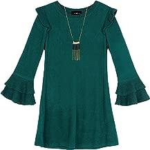 Amy Byer Girls' Bell Sleeve Fuzzy Knit A-line Dress