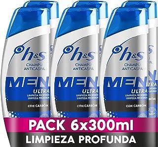 H&S Men Ultra Limpieza Profunda Champú Anticaspa 6 x 300ml Con Carbón Para Un Pelo Y Un Cuero Cabelludo Ultralimpios