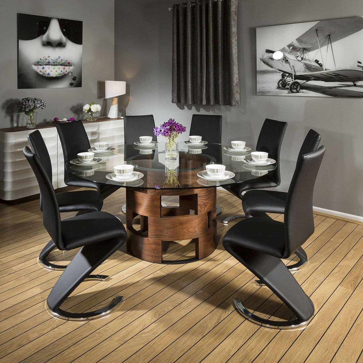 Large Round Glass Top Walnut Dining Table + 9 Black Z Chairs 9 ...