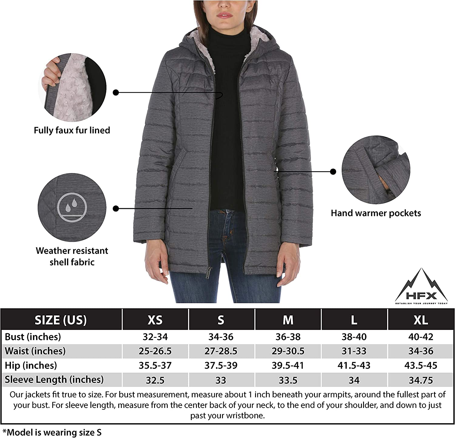 HFX womens 3//4 Length Fully Sherpa Lined Jacket