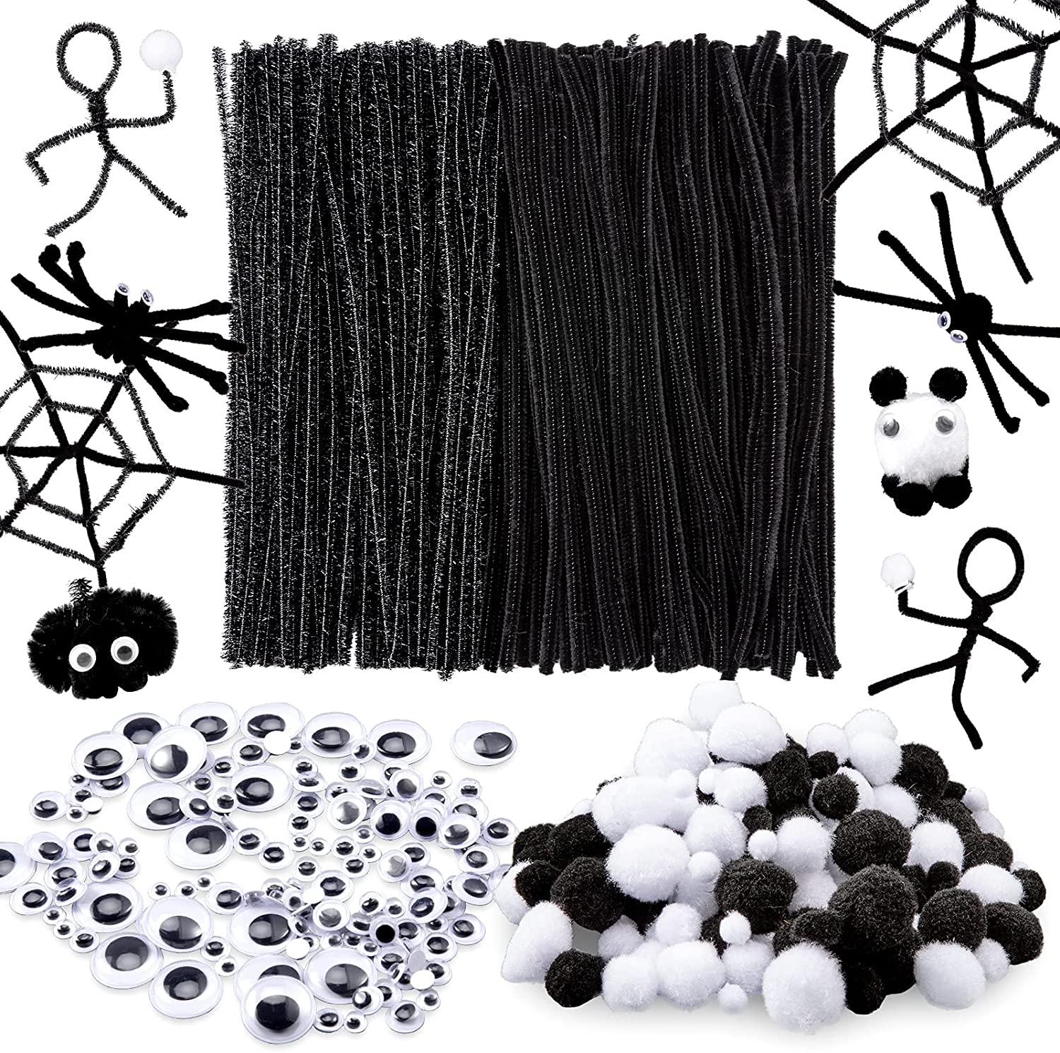 Whaline 600Pcs Halloween Pipe Cleaners High Los Angeles Mall quality Glittery 250Pcs Black Set