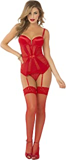 Women's Geo Lace and Stretch Satin Gartered Bustier and Thong
