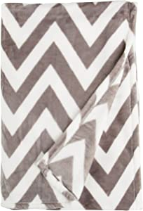 Northpoint Ruya Oversized Printed Velvet Plush Throw Blanket, 50 by 70-Inch, Chevron