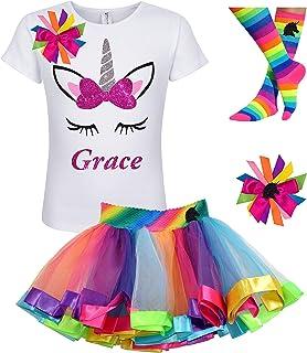 3327dfb267d Custom Unicorn Shirt Rainbow Tutu Outfit Girls Birthday Pink 4PC Gift Set  Personalized Name