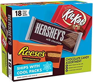 Hershey's Milk Chocolate & KIT KAT & REESE'S Cups, Gift Box of Assorted Full Size Bars 18 pieces, 27.3 oz