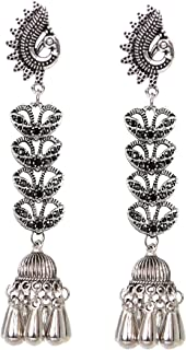 Sansar India Oxidized Stud Long Jhumka Indian Earrings Jewelry for Girls and Women