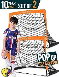 Dimples Excel Soccer Goal Pop up Soccer Goal Backyard for Kids Mini Soccer Goal Portable Foldable Football Goal Net Garden Indoor Outdoor,  2 Set