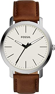 Men's 'Luther' Stainless Steel Leather Watch