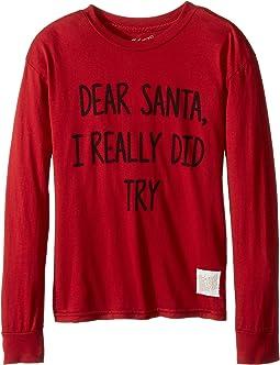 Dear Santa I Really Did Try Long Sleeve Vintage Cotton Tee (Little Kids/Big Kids)