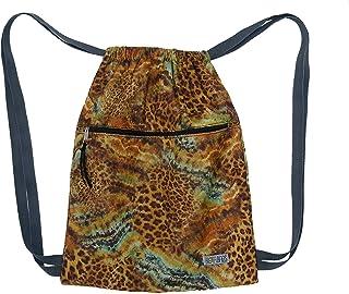 Mochila saco de tela leopardo, Mochila mujer de cintas