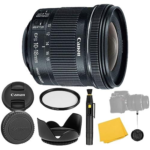 Canon EF-S 10-18mm f/4.5-5.6 is STM Lens + UV Filter + Flower Tulip Lens Hood + Lens Cleaning Pen + Lens Cap Keeper + Cleaning Cloth - 10-18mm STM: Stepper International Version (1 Year AOM Warranty)
