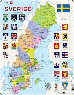 Larsen A7 Sverige, politisk karta, Svensk version, pussel med 70 bitar
