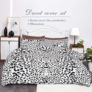 Eternal Moment Duvet Cover Set 3 Piece Set, Brushed Microfiber Hotel Collection Ultra Soft, Comforter Cover with Zipper Closure and 2 Pillowcases, Leopard-King