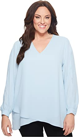 Karen Kane Plus - Plus Size Split Sleeve Crossover Top