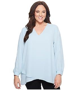 Plus Size Split Sleeve Crossover Top