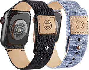 Compatible with Apple Watch Bands 42mm 44mm, Soft Cloth Fabric iWatch Bands Women Men Canvas with Genuine Leather Lining and Snap Button Straps for Apple Watch Series 6/5/4/3/2/1/SE, Black, Lightblue