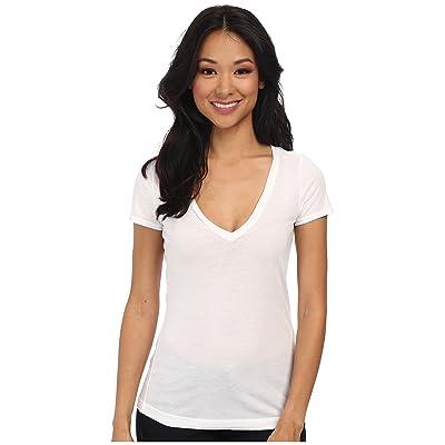 Three Dots Jersey Colette S/S Deep V-Neck (White) Women
