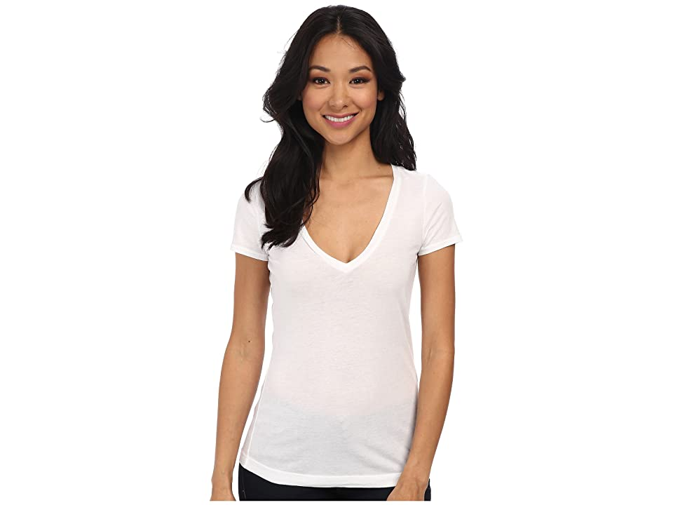 Three Dots Jersey Colette S/S Deep V-Neck (White) Women