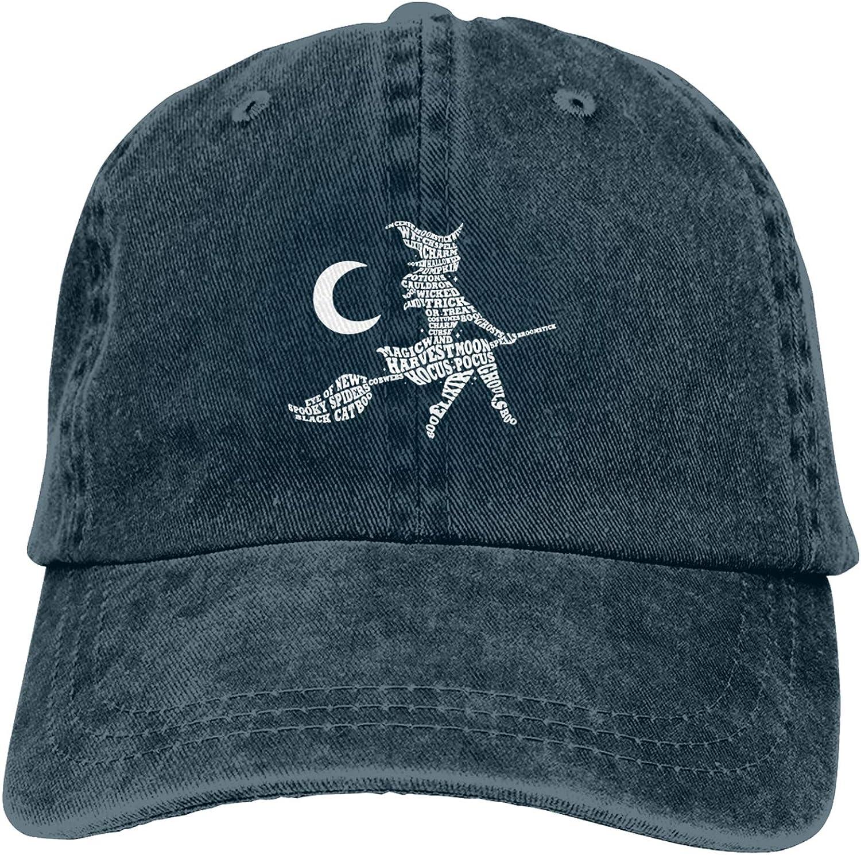 WAYMAY Witch Halloween Unisex Adjustable Cowboy Hat Adult Cotton Baseball Cap