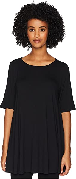 Lightweight Viscose Jersey Jewel Neck Elbow Sleeve Tunic