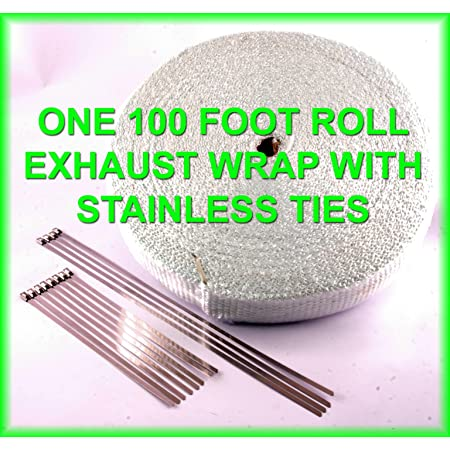 WHITE High Temperature Header Exhaust Pipe Insulation Wrap Kit Thermal Zero 1 Roll White 1//16 X 2 X 50 with a Stainless Ties Kit