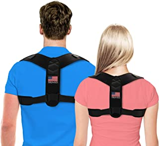 TRUWEO Posture Corrector for Men and Women - USA Designed Upper Back Brace for Clavicle Support and Providing Pain Relief from Neck,  Back & Shoulder (Medium (Chest Circumference: 43-60 inches))