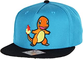 bioWorld Pokemon Charmander Embroidered Snapback Cap Hat, Blue