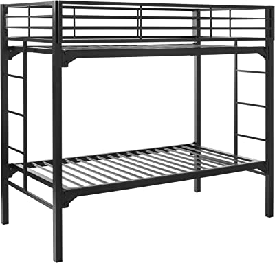 Blantex University Bed Bunk, Twin Over Twin, Black