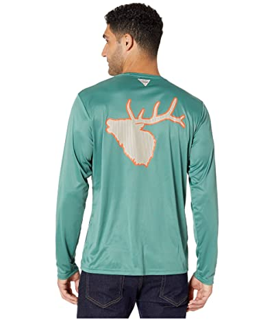 Columbia PHG Terminal Shot Graphic Long Sleeve Shirt (Thyme Green/Elk) Men