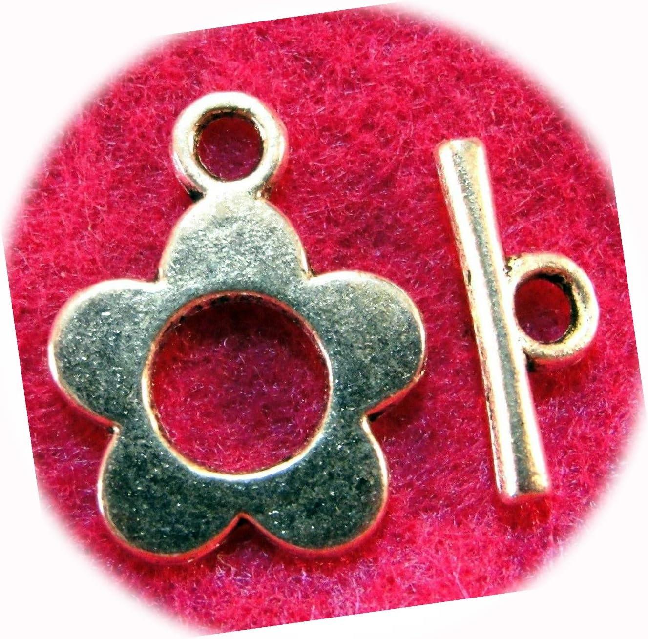 50Sets Tibetan Silver Flower Toggle Connectors Cheap sale Clasps 40% OFF Cheap Sale Ador Hooks