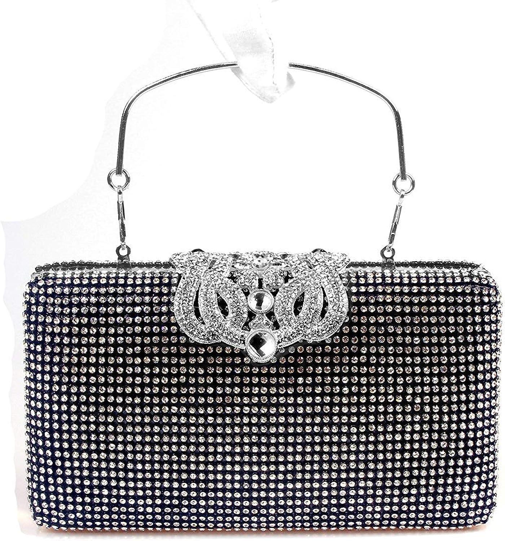 Ladies Handbag Diamond Crown Bride Wedding Dinner Bag Diamond Diamond Water spot Mobile Phone Bag (color   Black)