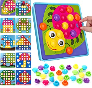 NextX Button Art Toy Color Matching Mosaic Pegboard Early Learning Educational Preschool Games for Kids' Motor Skills (Pink)